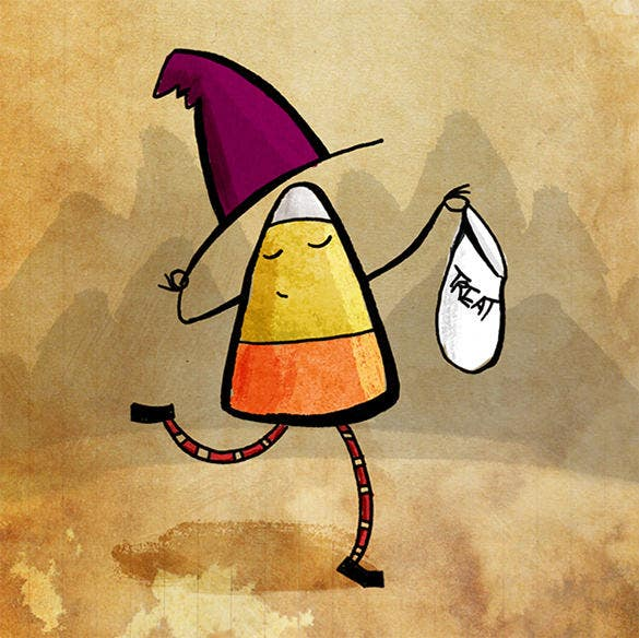 the candy corn witch template