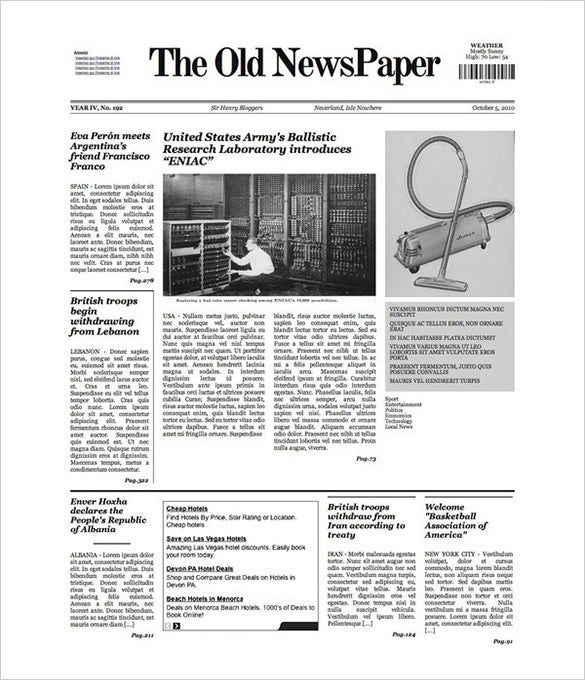 Old Newspaper Template 20 JPG PSD Format Download – Newspaper Layout Template