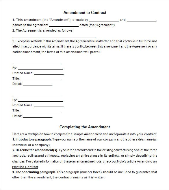Contract Amendment Templates  Free Word Pdf Documents