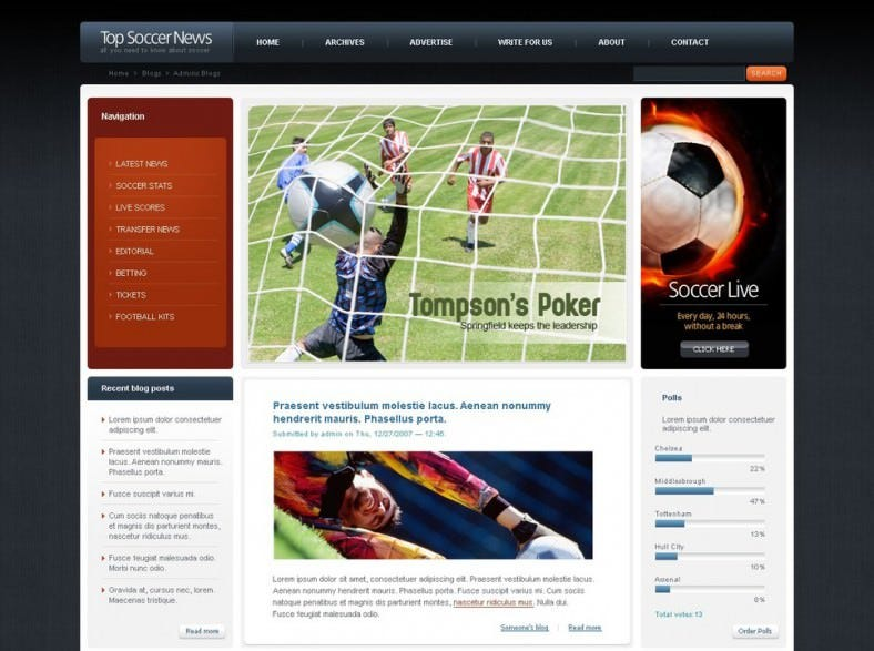 top soccer psd website template 788x587
