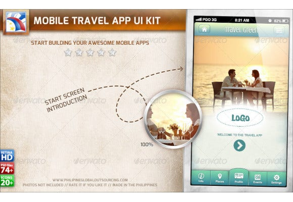 travel ui kit for phone tablet retina