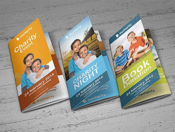 trifold charity event brochure template