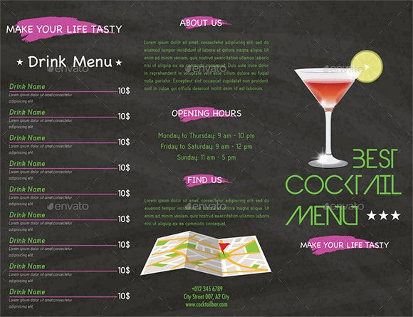 trifold cocktail menu template