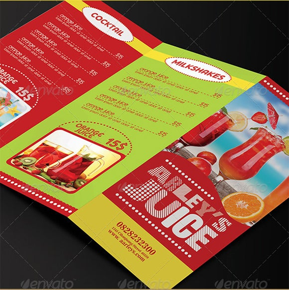 trifold drinks menu template