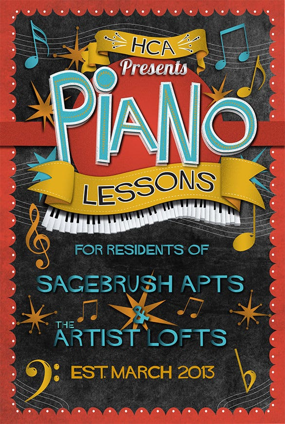 tutoring flyer template for piano lessons design