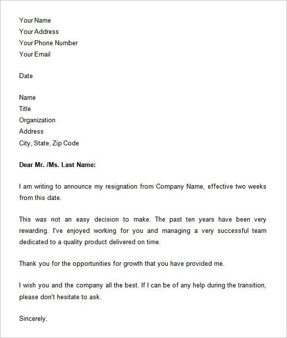 two weeks notice sample letter template