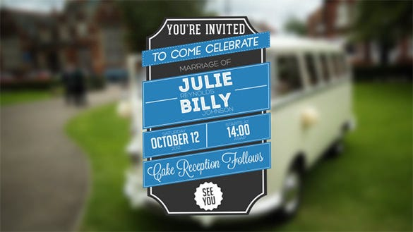 typographic wedding event invitation template