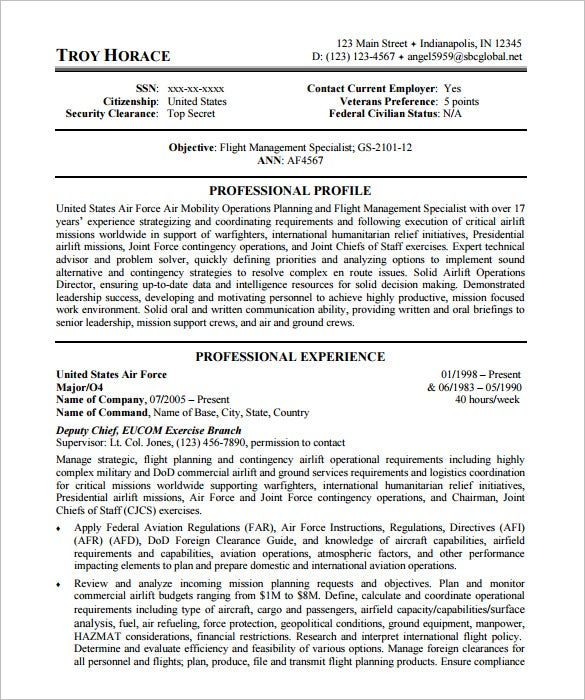 Superior US Air Force Federal Resume Template