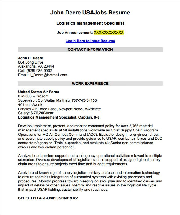 Example Federal Resume  CityEsporaCo