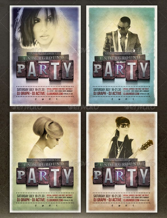 underground party poster design 5 colours