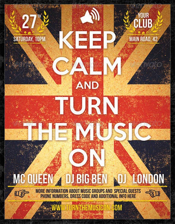 union jack party grunge keep calm psd poster 6