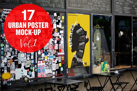 urban poster mock up psd download