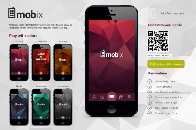 10 spectacular flat design mobile website templates for Jquery mobile login template