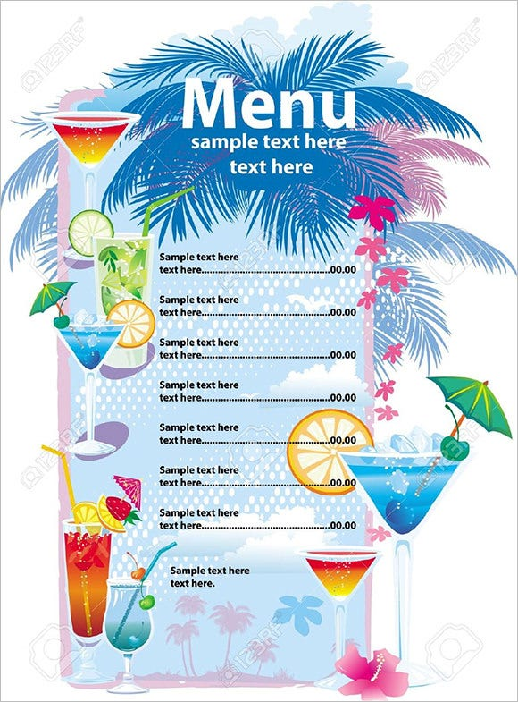 vector template designs of cocktail menu