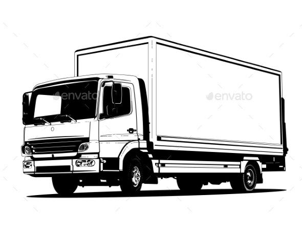 vector truck outline template