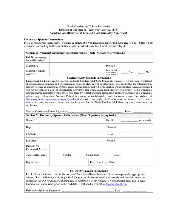vendor consultant confidentiality agreement1