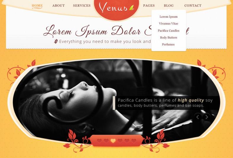 venus beauty center psd template 788x535