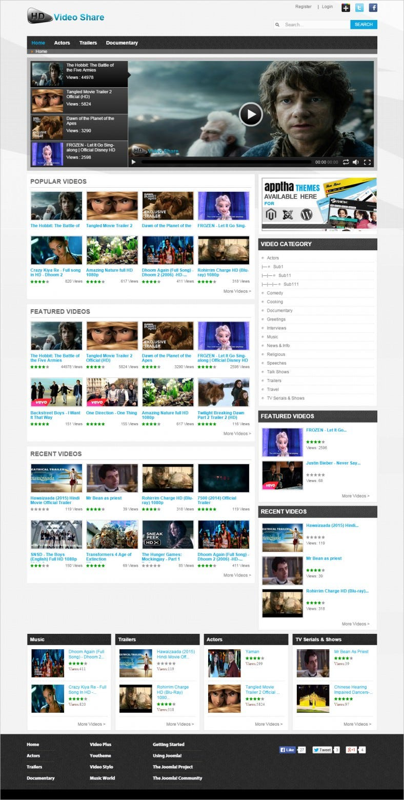 Most popular joomla video sharing templates free for Free joomla template creator software