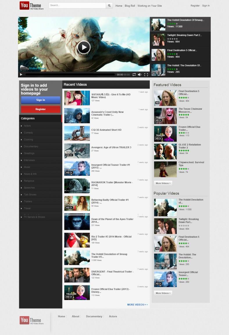video sharing portal joomla template 788x1153