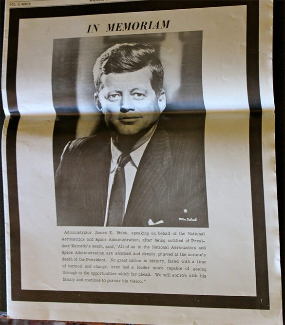 vintage 1963 nasa newspaper reports president kennedys death