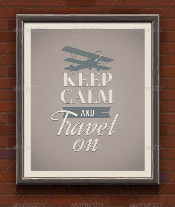vintage poster keep calm and travel on eps design