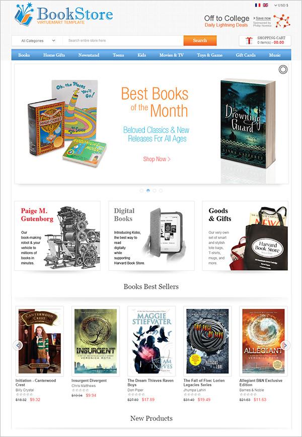 virtuemart book store template