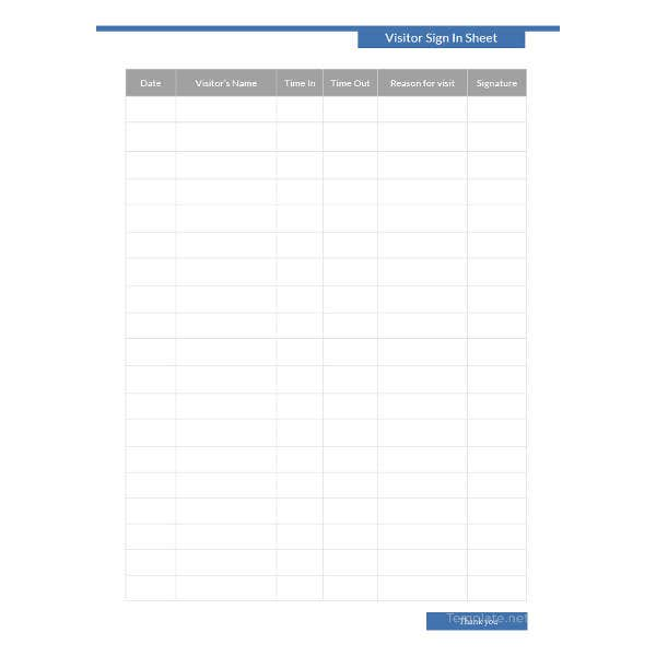 visitor sign in sheet template