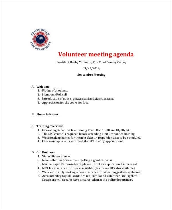 volunteer meeting agenda template