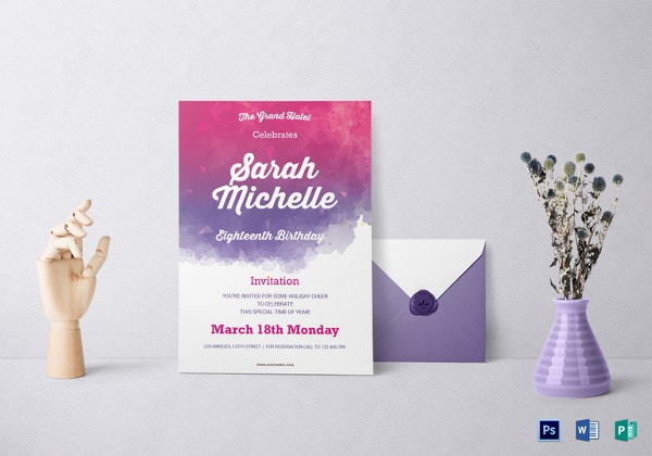 watercolor debut invitation template1