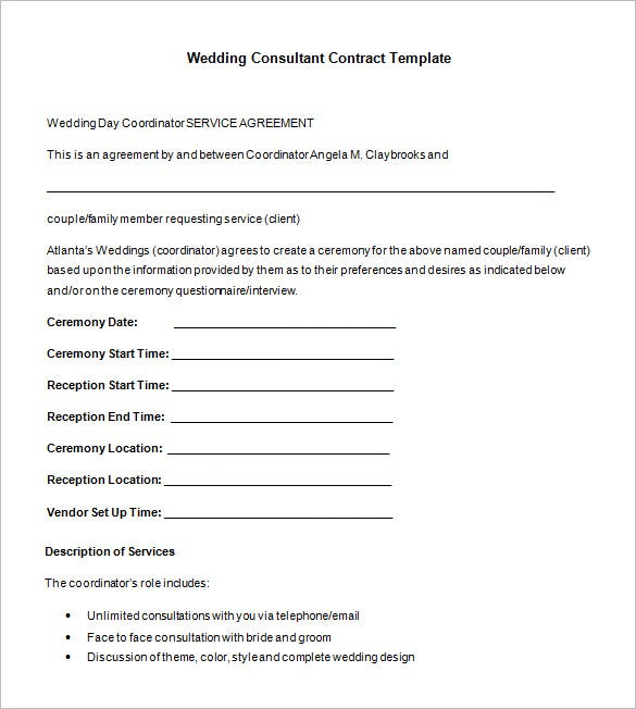 Superb Wedding Consultant Contract Format Template For Wedding