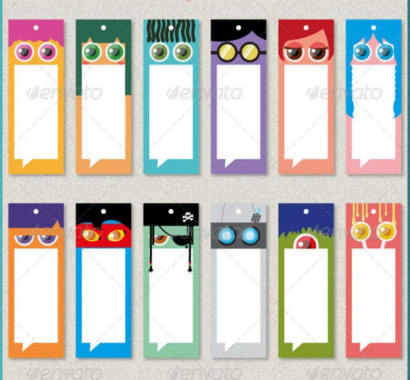 whacky bookmark set template illustration
