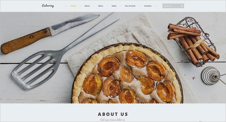 White Color Joomla Template for Catering