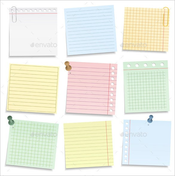 Printable Notepad Paper 13 Notebook Paper Templates  Free Eps Pdf Illustrator Files .