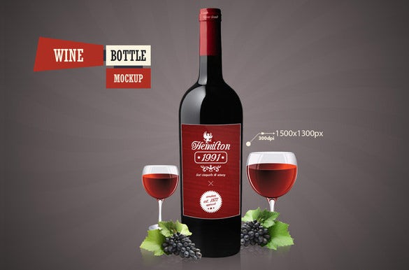 wine psd bottle mockup template 4
