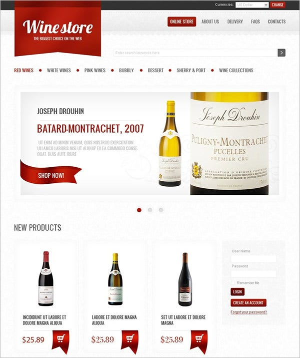 wine virtuemart template 2