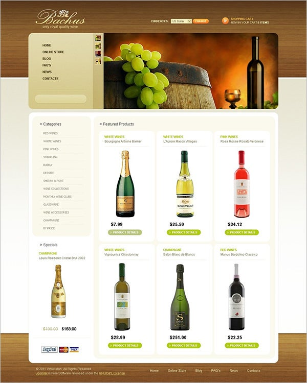 wine virtuemart template 3