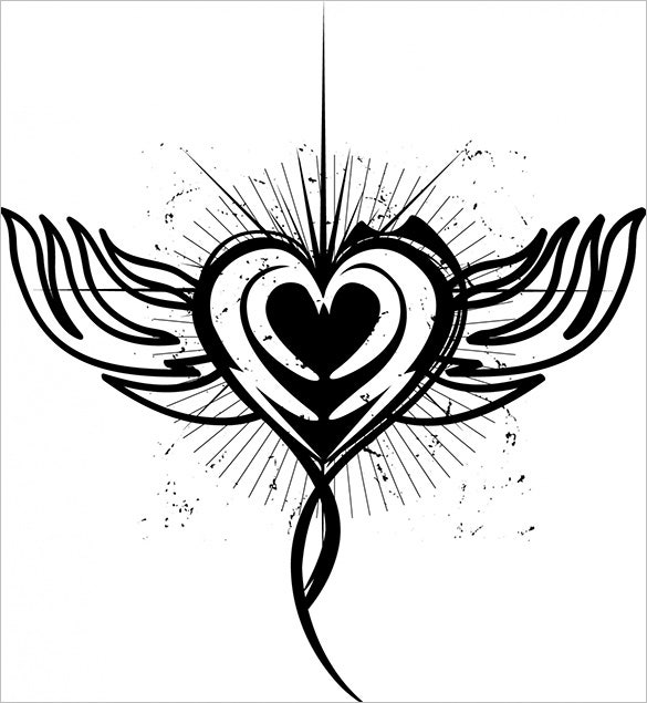 winged heart tattoos designs