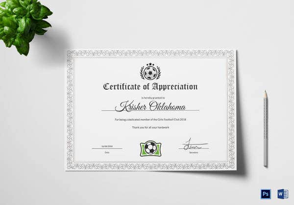 women football appreciation certificate template