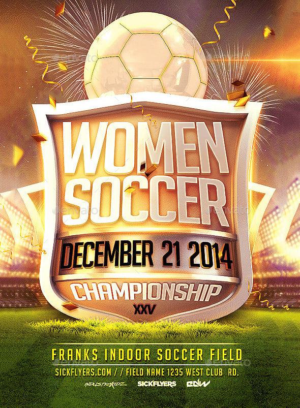 women psd soccer flyer template 6