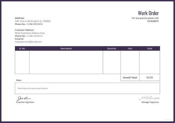 work order format template