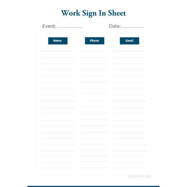 work sign in sheet template