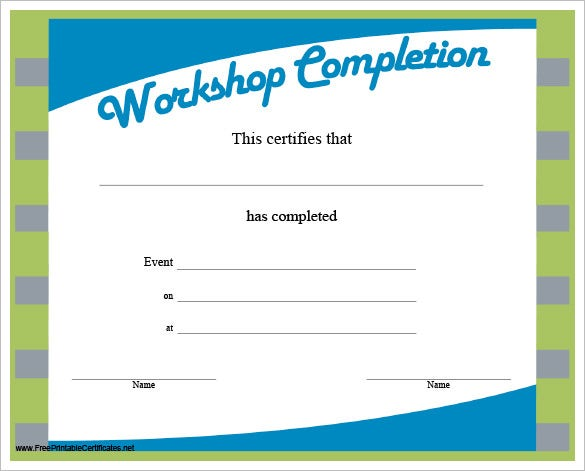 Completion certificate templates 36 free word pdf psd eps workshop completion certificate yadclub Images