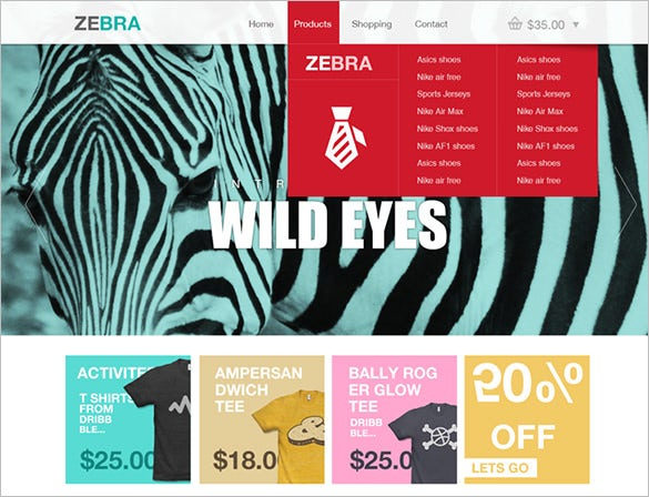 zebra free psd website template
