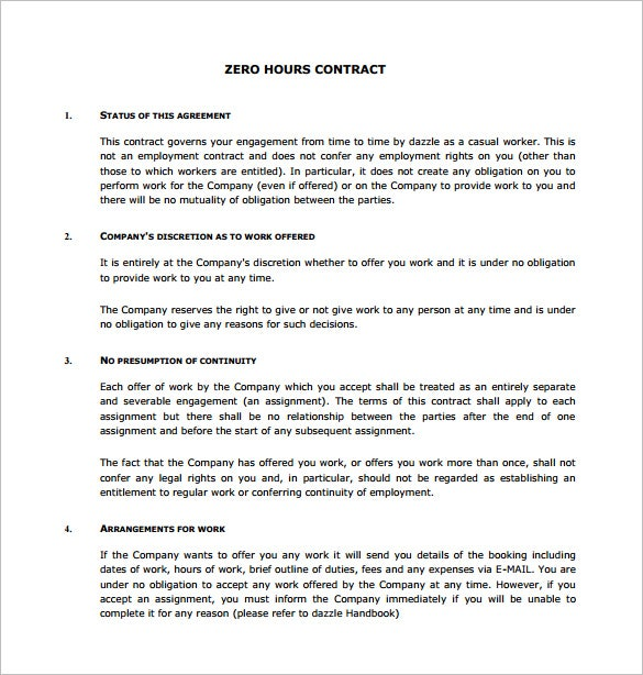 Captivating Zero Hours Job Contract Template PDF Download
