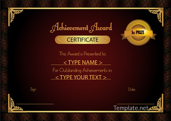Free Certificate Template 65 Adobe Illustrator Documents – Free Certificate of Achievement