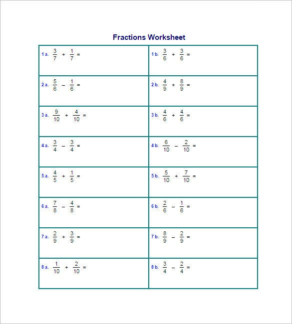 15+ Adding And Subtracting Fractions Worksheets – Free PDF Documents ...