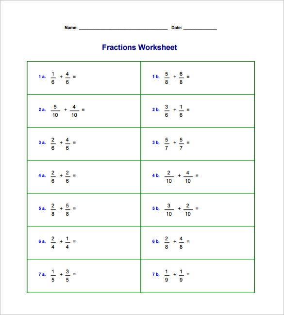 Adding And Subtracting Fractions Worksheets  Free Pdf Documents  Sample Adding And Subtracting Fractions Word Problems Worksheets