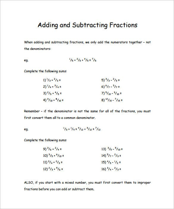 math worksheet : 15 adding and subtracting fractions worksheets  free pdf  : Fractions Adding And Subtracting Worksheets