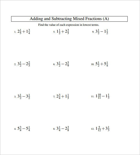 15 Adding And Subtracting Fractions Worksheets Free PDF – Adding and Subtracting Mixed Fractions Worksheet