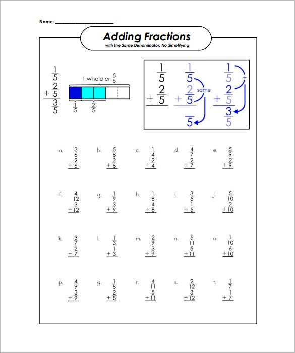 adding fractions worksheet samples - Adding Fractions Worksheet